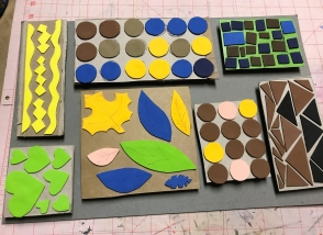 Add fun foam shapes to cardboard